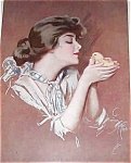 Harrison Fisher Print Victorian Country Lady Baby Chick