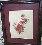 Original Harrison Fisher Victorian Lady In Red Automobile Print