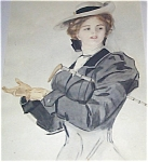 Equestrian Victorian Lady Watercolor Painting Harrison Fisher