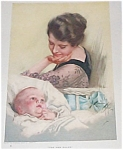 Vintage Harrison Fisher Print New Ruler Baby Boy & Mother
