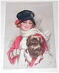 Vintage Harrison Fisher Print Lady In Red Carrying Pekingese Dog