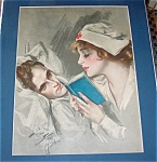 Print Harrison Fisher Wwi Red Cross Nurse & Soldier Compensation