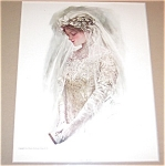 Vintage Harrison Fisher Prints Bride Wedding, Bridal Veil Gown