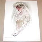 Vintage Harrison Fisher Prints Bride Wedding, Bridal Veil Gown