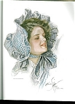 Harrison Fisher Print: Victorian Country Lady: Blue Gingham Bonnet