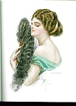 Vintage Harrison Fisher Print Victorian Lady Feather Fan