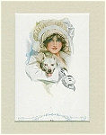 Harrison Fisher Print: Pals Girl In Bonnet Pitbull Dog