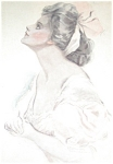 Watercolor Painting Lady Pink Harrison Fisher Anticipat