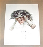 Vintage Bedroom Vanity Print Lady With Hat Pin Harrison Fisher
