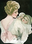 Vintage Harrison Fisher Print: Mother Holding Little Girl Doll