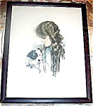 Antique Vintage Dog Art Prints: Harrison Fisher Girl With Puppy