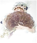Vintage Print Edwardian Lady Fan Sleeping Bonnet Bedroom