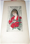 Vintage Bedroom & Vanity Print Victorian Lady Candle, Red Roses
