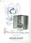 Vintage French Perfume Ad Illustration Houbigant Demi-jour