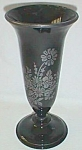Black Glass Vase Sterling Silver Overlay