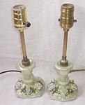 Pair Antique German Porcelain Boudoir Lamps