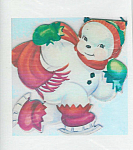 Vintage Snowman Christmas Fabric Squares Quilt Blocks