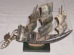 Vintage Tv Light 3 Sail Ship Made Of Horn