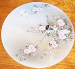 Antique Porcelain Tea Tile Round Roses & Birds