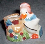 1940's Luster Duck With Stump Toothpick Holder