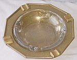 Pair Brass And Glass Ashtrays