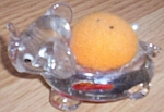 Adorable Clear Glass Elephant Pin Cushion Applied Eyes