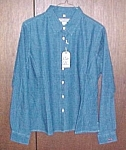 Denim Shirt Blouse Ladies Size Reg Med Long Sleeve