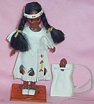 Sioux Squaw Doll W/papoose And Stand 7.5 In.