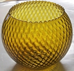 "Italian Art Glass Amber Honeycomb 6.5"" Console Bowl"