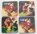 "4 Christmas Santa Beverage Coasters Cork Bottoms 3.5"" Sq."