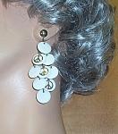 Earrings Pierced White Plastic Discs W/peace Signs 2.75 In.