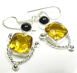 Faceted Large Citrine Onyx Drop Earrings Sterling Silver