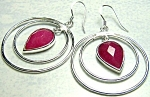 Natural Ruby Drop Earrings Sterling Silver, Large