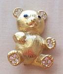 Trifari Teddy Bear Pin W/rs Ears/paws Brushed Goldtone 1.5 In.