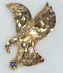 14k Flying Eagle Diamond Cut Ygold Pendant 1 In. W/blue Sapphire