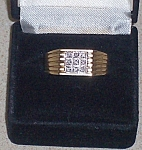 10k Yg Mens Ring 9 Diamond 9mm Wide