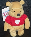 """Pooh Red Knitted Sweater Wdc Disney Store Mini Bean Bag 8"""""""