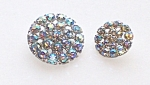 Two Silvertone Metal Iridescent Rhinestone Buttons