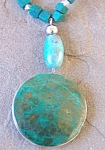 Natural Gemstone Jewelry: Big Turquoise Pendant Necklace