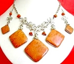 Jasper Necklace Dangle Earrings Set Silver