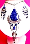 Big Deep Blue Sodalite Necklace Dangle Earrings Set Silver