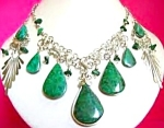 Green Turquoise Necklace Dangle Earrings Large Set Silver