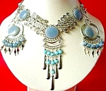 Blue Celestite Ornate Necklace Dangle Earrings Set Silver