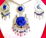 Round Sodalite Necklace Dangle Earrings Large Set Silver