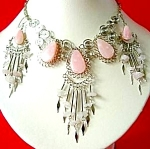 Pink Opal Necklace Dangle Earrings Set Silver