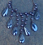 Big Black Hematite Tear Drop Necklace: Genuine Gemstones; Jewelry
