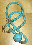 Genuine Turquoise Gemstone Bead Necklace: Natural Stone Jewelry