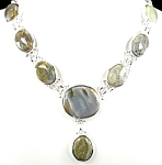 Genuine Chunky Ocean Jasper Drop Necklace Sterling Silver
