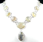 Chunky Ocean Jasper Necklace Sterling Silver Gemstone Jewelry