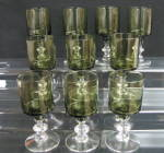 Green Glass Cordial Glass Set